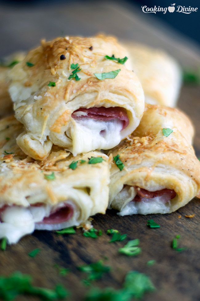 Salami and Provolne Puff Pastry Rollups